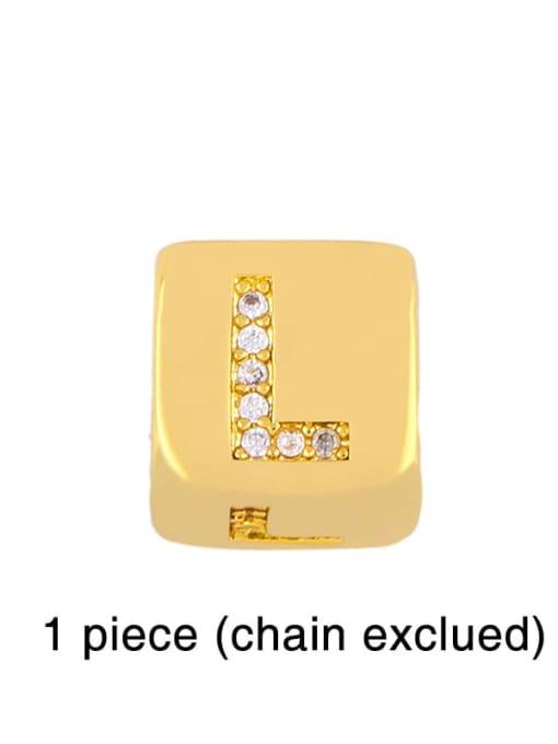 L Brass Cubic Zirconia square Letter Minimalist Adjustable Bracelet