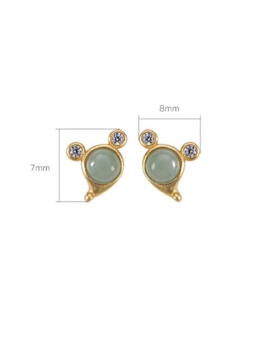 DEER 925 Sterling Silver Jade Mouse Vintage Stud Earring 2