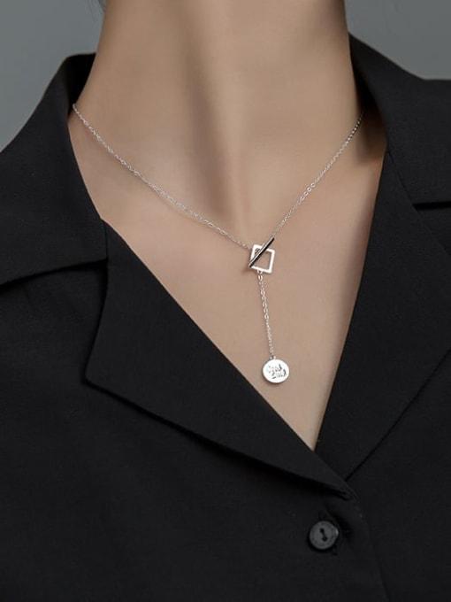 Rosh 925 Sterling Silver Minimalist  Letters Geometric tassel Lariat Necklace 3