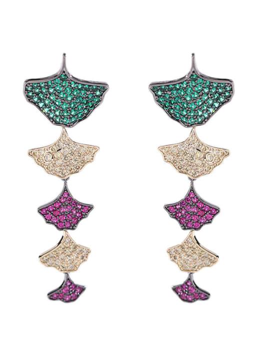 Luxu Brass Cubic Zirconia Leaf Trend Drop Earring 3