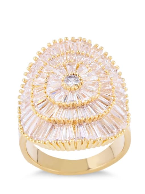 golden Brass Cubic Zirconia Geometric Luxury Band Ring