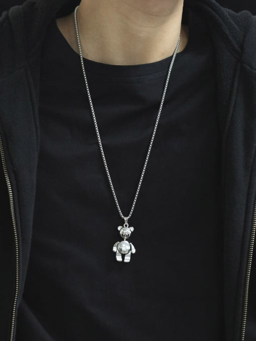 Open Sky Alloy  Hip Hop teddy bear Necklace 1