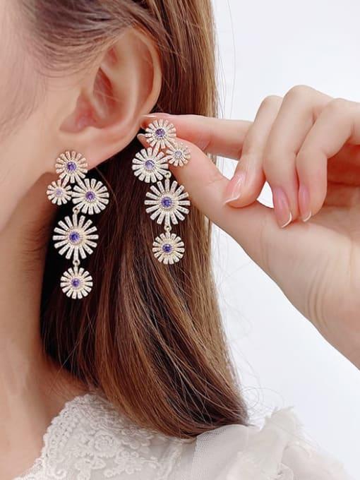Luxu Brass Cubic Zirconia Flower Luxury Cluster Earring 1
