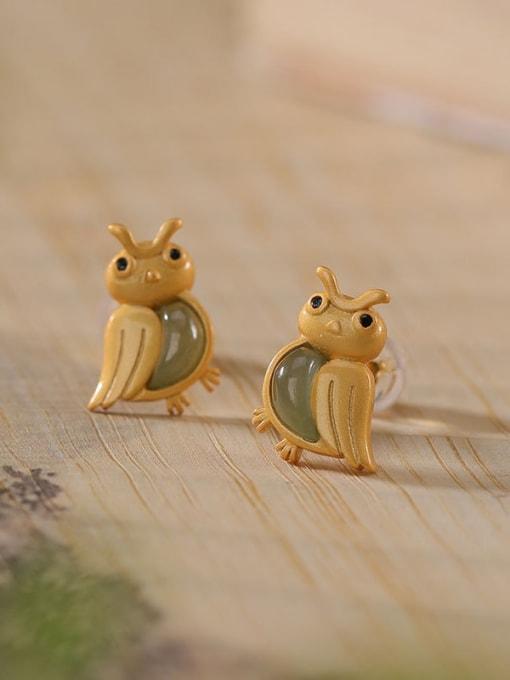DEER 925 Sterling Silver Jade Eagle Cute Stud Earring 0