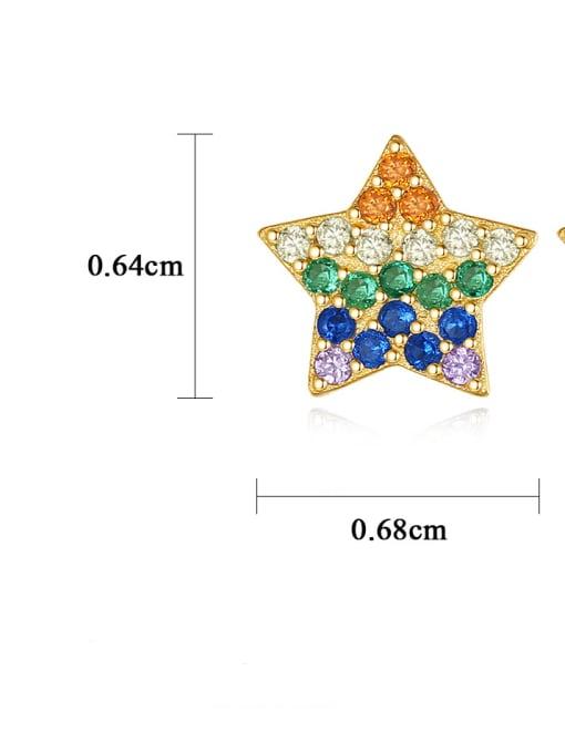 CCUI 925 Sterling Silver Cubic Zirconia Star Dainty Stud Earring 4