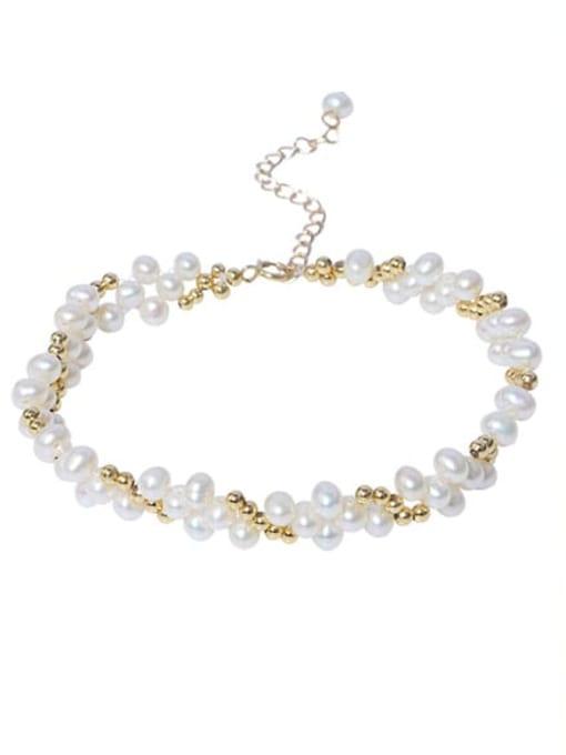 RAIN Brass Freshwater Pearl Flower Vintage Beaded Bracelet