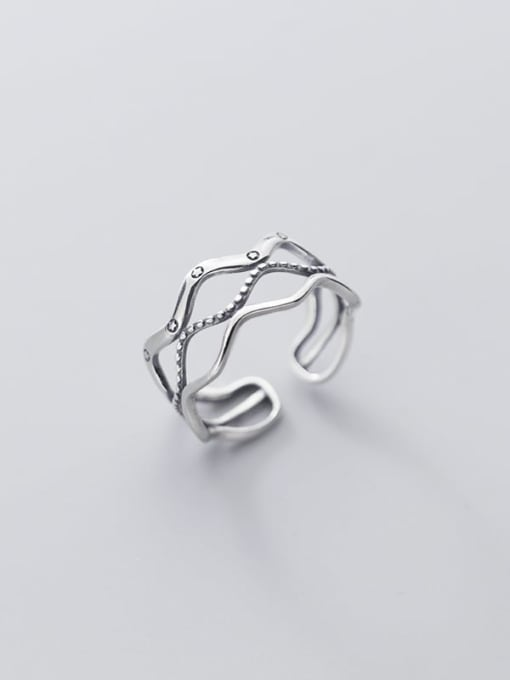 Rosh 925 Sterling Silver Geometric Vintage Band Ring