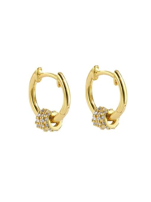 CHARME Brass Cubic Zirconia Round Minimalist Huggie Earring 3