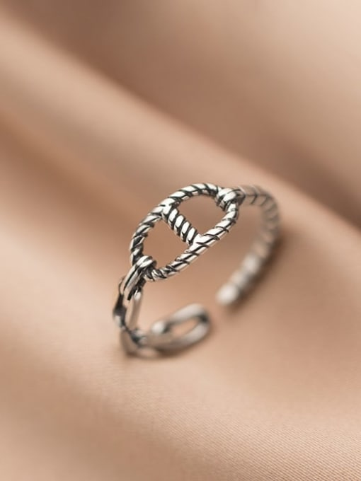 Rosh 925 Sterling Silver Hollow Geometric Vintage Band Ring