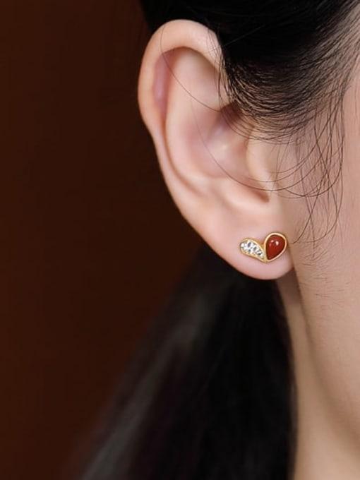 DEER 925 Sterling Silver Carnelian Heart Cute Stud Earring 1