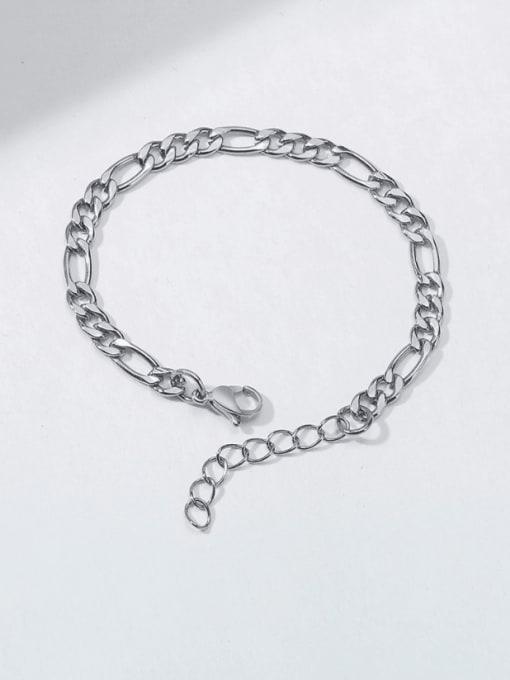 Steel color 7mm Titanium Steel Geometric Minimalist Link Bracelet