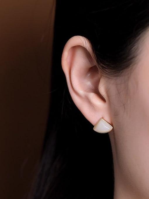 DEER 925 Sterling Silver Jade Triangle Vintage Stud Earring 1