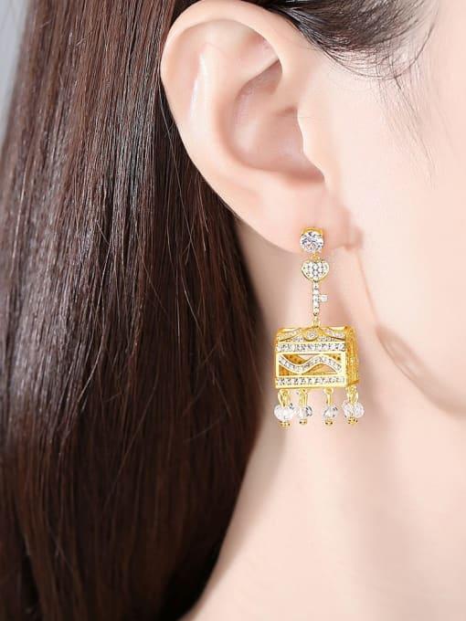 BLING SU Brass Cubic Zirconia Geometric Luxury Drop Earring 1