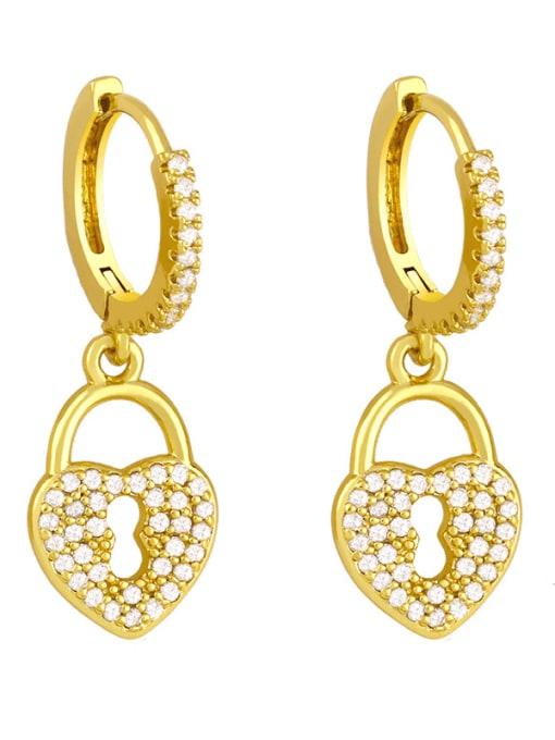B Brass Cubic Zirconia Heart Vintage Huggie Earring