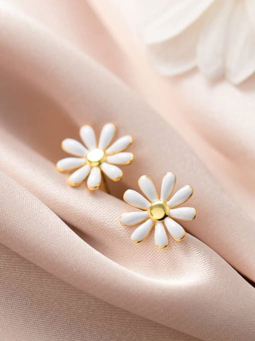 Rosh 925 Sterling Silver Enamel Flower Minimalist Stud Earring