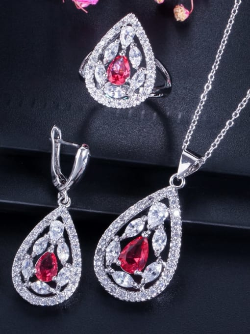 Red ring size 7 Drop Brass Cubic Zirconia Luxury Water  Earring and Necklace Set