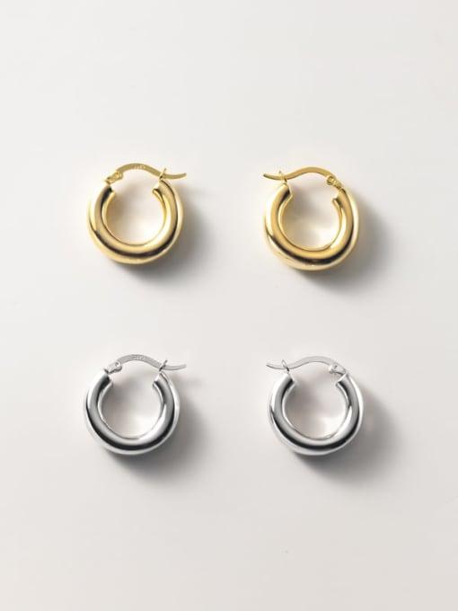 Rosh 925 Sterling Silver Round Minimalist Huggie Earring 0