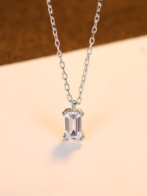 CCUI 925 Sterling Silver Cubic Zirconia Geometric Minimalist  pendant Necklace 3