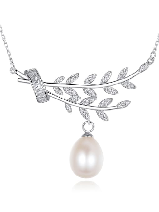 CCUI 925 Sterling Silver Cubic Zirconia Leaf Dainty Necklace