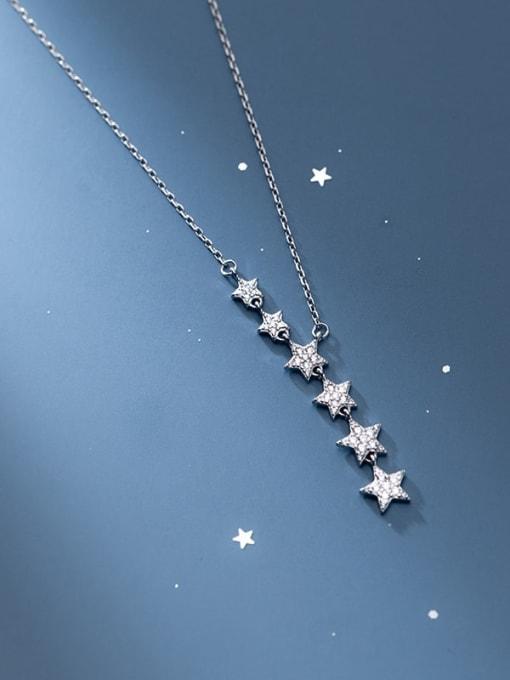 Rosh 925 Sterling Silver Cubic Zirconia Star Minimalist Lariat Necklace 2