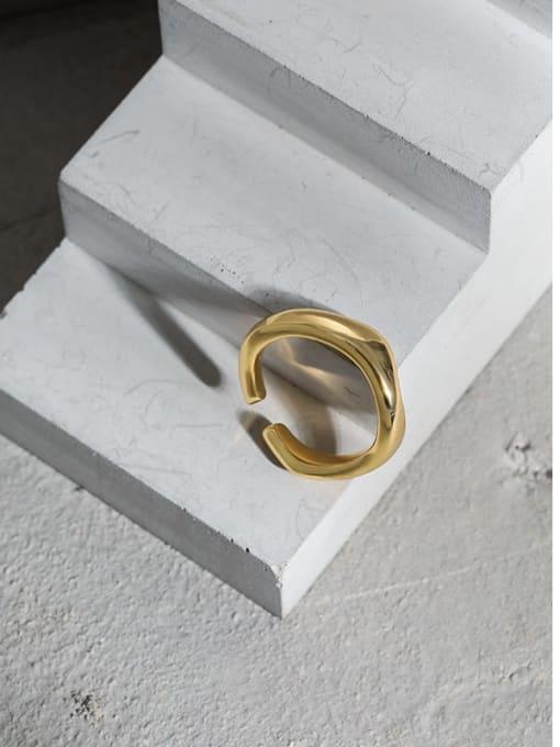 DAKA 925 Sterling Silver Smooth Irregular Minimalist Band Ring 1