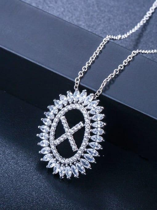 Letter X Brass Cubic Zirconia Geometric Luxury Letter pendant Necklace