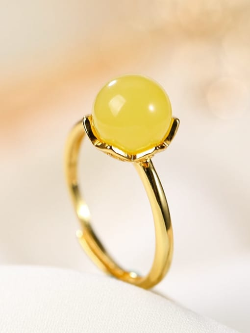 DEER 925 Sterling Silver Citrine Round Minimalist Band Ring 2