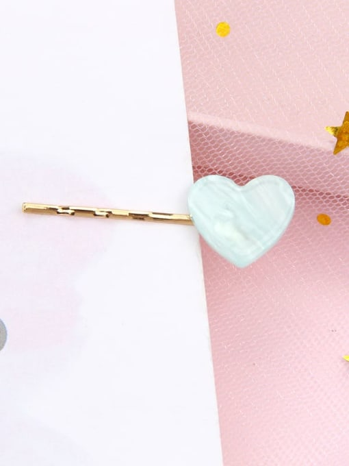 Love water blue Alloy Cellulose Acetate Minimalist Heart Hair Pin