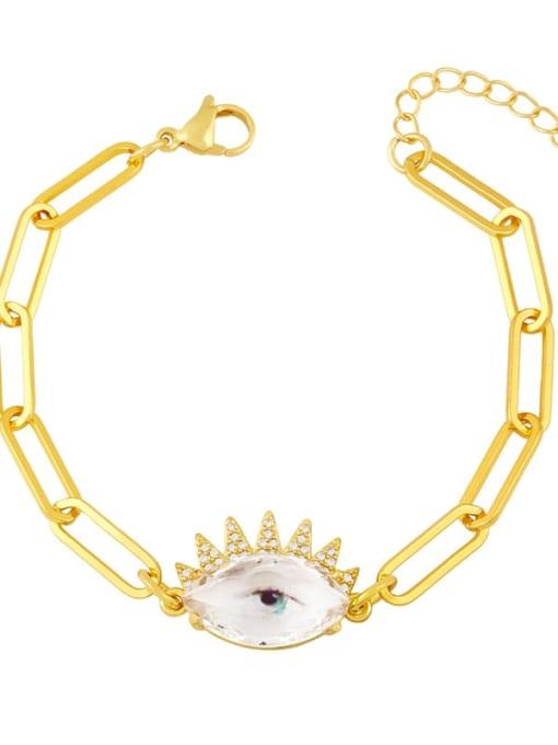 Eyelash Brass Enamel Evil Eye Vintage Link Bracelet
