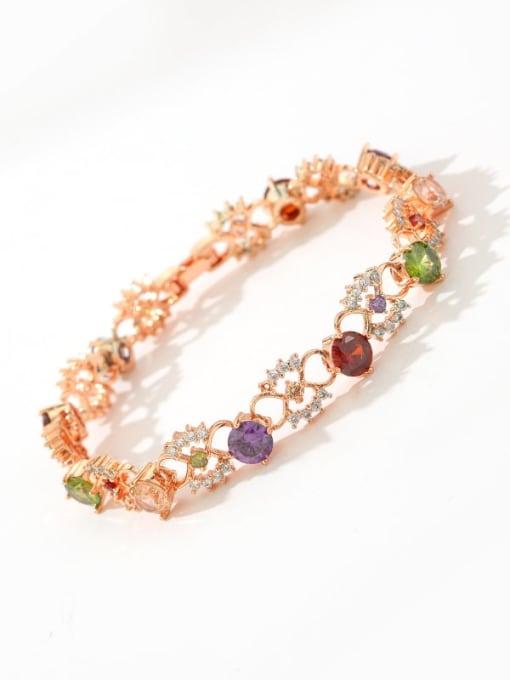 DUDU Brass Cubic Zirconia Multi Color Hollow Flower Dainty Bracelet 1