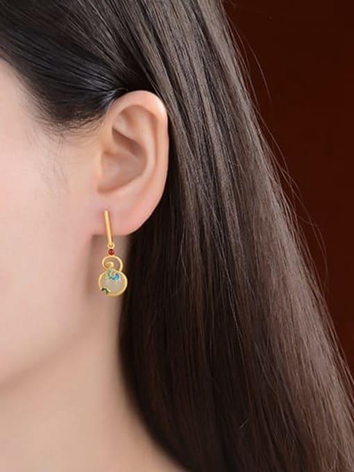 DEER 925 Sterling Silver Jade Enamel Vintage Geometric  Earring and Necklace Set 2