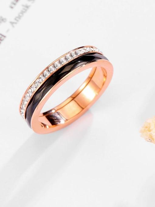 MIYA Titanium Steel Enamel Rhinestone Round Minimalist Band Ring 2
