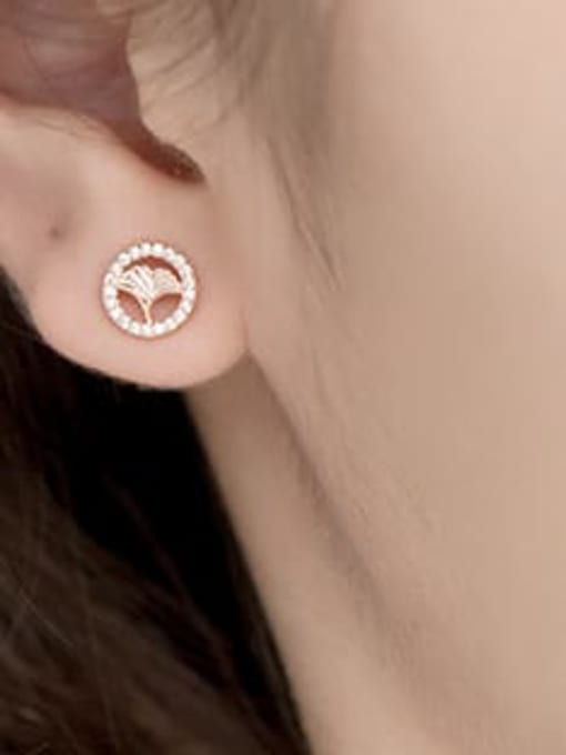 rose gold 925 Sterling Silver Rhinestone Round Minimalist Stud Earring
