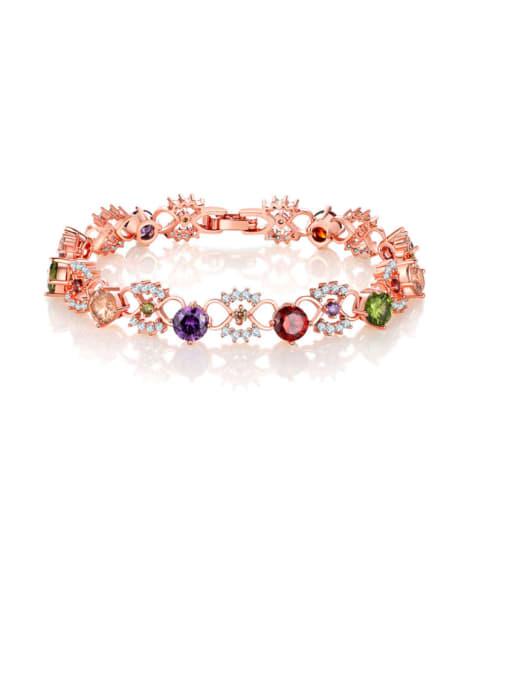 DUDU Brass Cubic Zirconia Multi Color Hollow Flower Dainty Bracelet