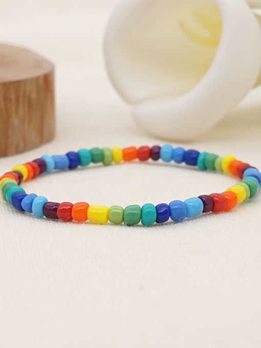 QT B200158A Stainless steel MGB Bead Multi Color Letter Bohemia Stretch Bracelet