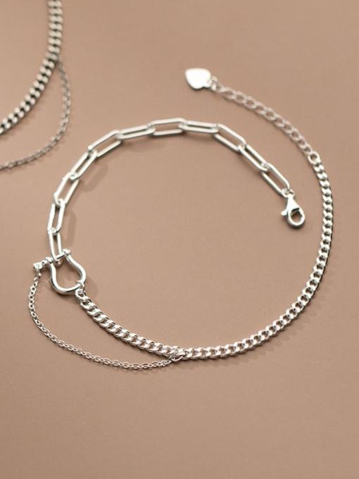 Rosh 925 Sterling Silver Asymmetry Irregular Vintage Link Bracelet 2