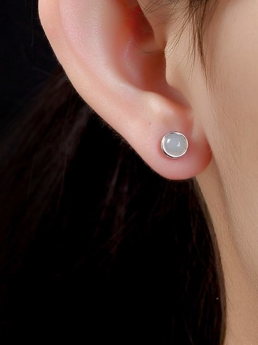 DEER 925 Sterling Silver Jade Round Cute Stud Earring 3