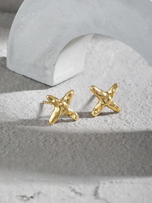 DAKA 925 Sterling Silver Cross Minimalist Stud Earring