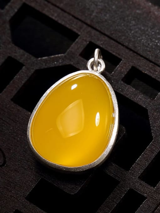 yellow Chalcedony 990 Sterling Silver Jade Vintage Water Drop Pendant