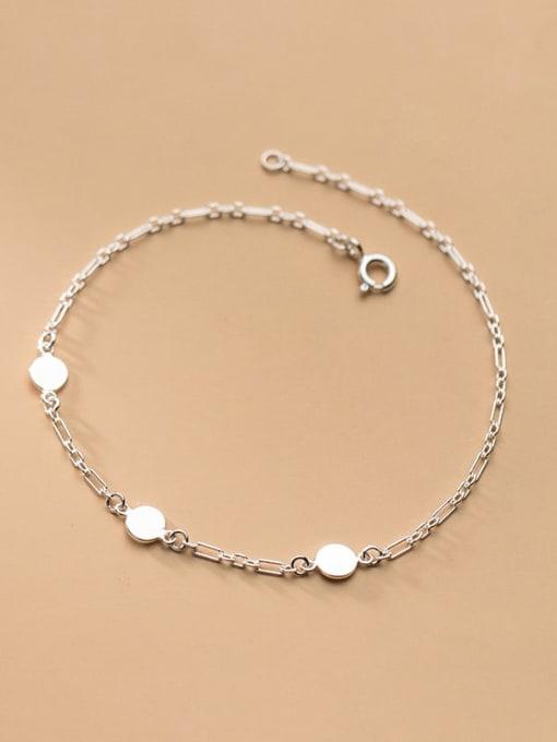 silver 925 Sterling Silver Round Minimalist Adjustable Bracelet