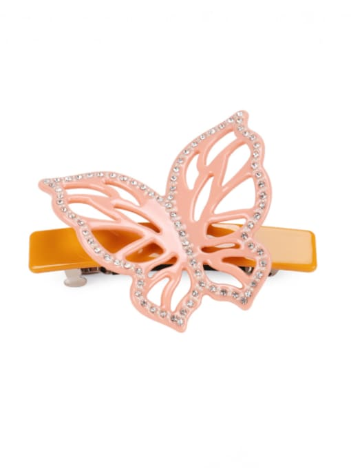 HUIYI Cellulose Acetate Cute Butterfly Zinc Alloy Rhinestone Hair Barrette 1