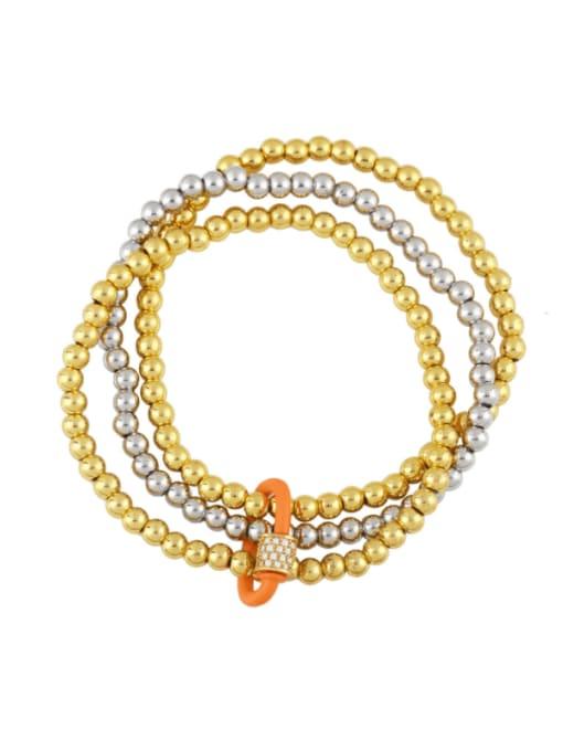 orange Brass Bead Enamel Geometric Vintage Beaded Bracelet