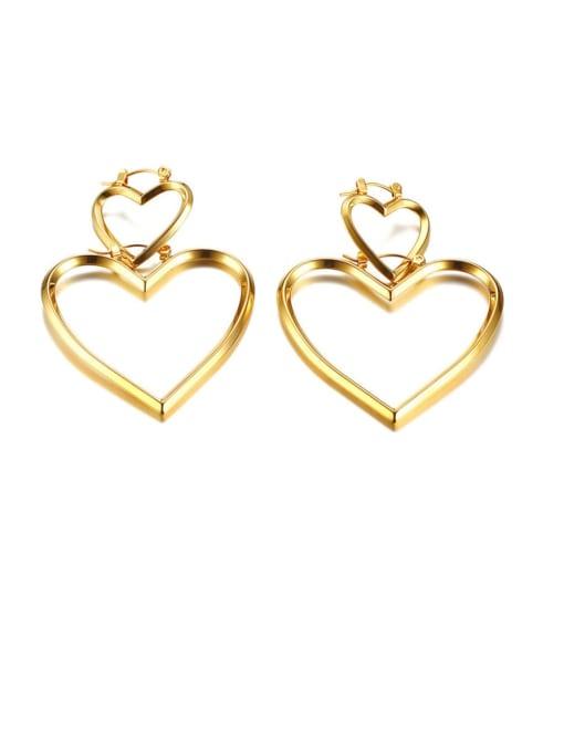 CONG Stainless steel Hollow Heart Minimalist Single Earring 3