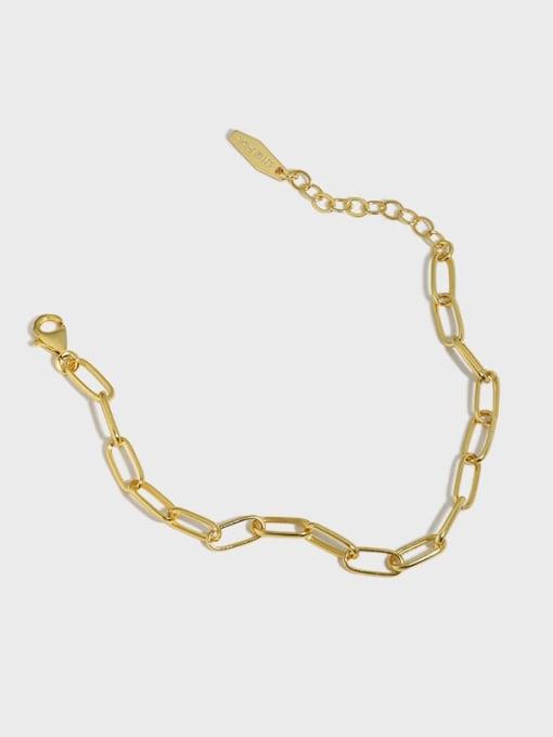 DAKA 925 Sterling Silver Hollow Geometric Chain  Minimalist Link Bracelet
