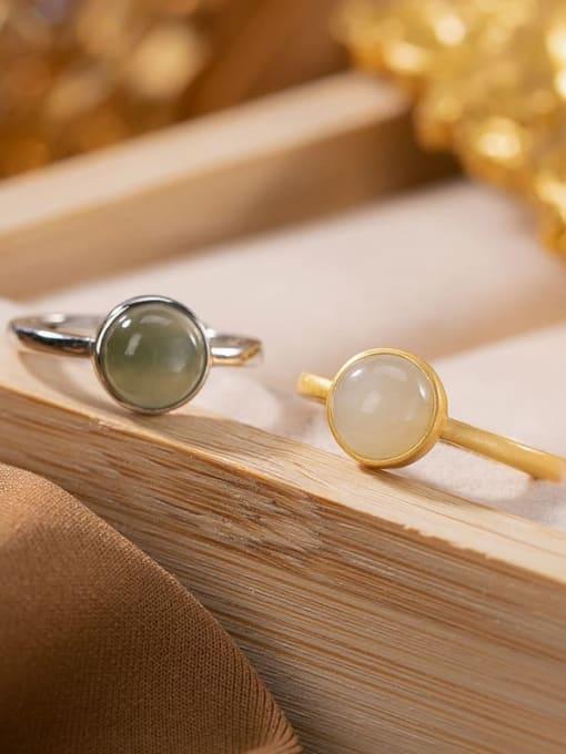 DEER 925 Sterling Silver Jade Round Vintage Band Ring