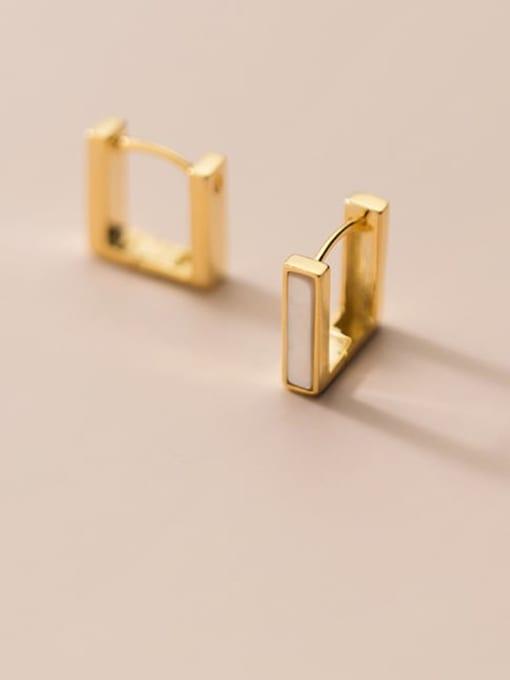 Rosh 925 Sterling Silver Shell Geometric Minimalist Stud Earring
