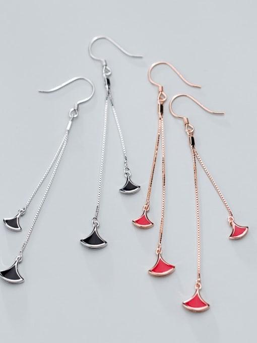 Rosh 925 Sterling Silver Red Enamel Irregular Minimalist Hook Earring 0