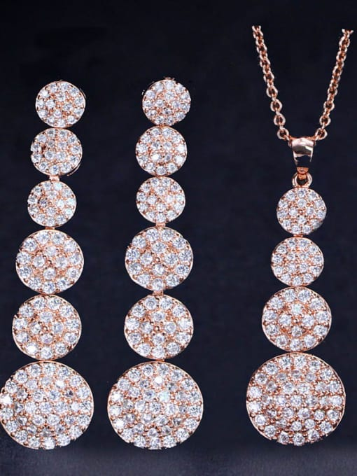 rose gold Brass Cubic Zirconia Classic Geometric  Earring and Necklace Set