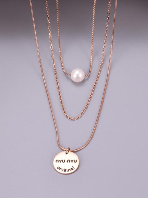 A TEEM Titanium Steel Imitation Pearl Tassel Minimalist Multi Strand Necklace 3