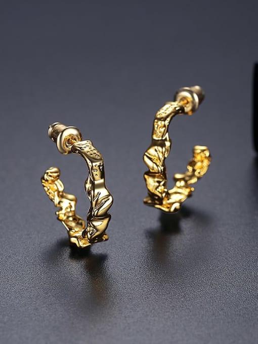 18k T05I11 Copper Geometric Minimalist Stud Earring